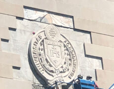 Carving and Installing Limestone Work at Fordham University